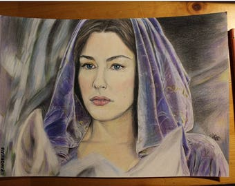 """Portrait of Arwen """"Lord of the rings"""" with pencils"""