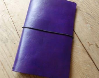 MIDORI Cover, Leather Travelers Notebook, Vintage Violet, Regular