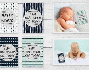 Mint Black and Grey Baby Milestone Cards - 16 cards - Baby's first year