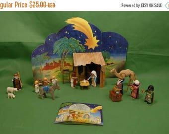 On Sale Vtg Playmobil Nativity Set Christmas Scene Holy Family 3 Kings Shepherd Barn Animals Cardboard Manger INCOMPLETE Model 5719 ages 4 a