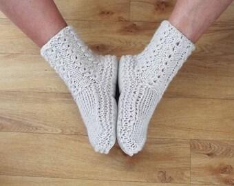 Stone Colour New Zealand Sheepskin and Wool Slipper Socks