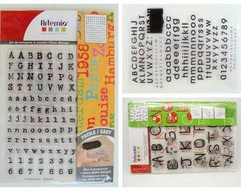 Tampons silicone Clear Stamps en planche Alphabet chiffres Lettres majuscules Minuscules planche 18cm Artemio Lettrines Noël