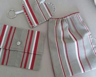 pouches bags gift Christmas red and gray more portze keys