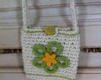mini green and ecru color crochet bag