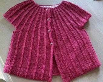 Cardigan hand knitted, baby girl 6 months months