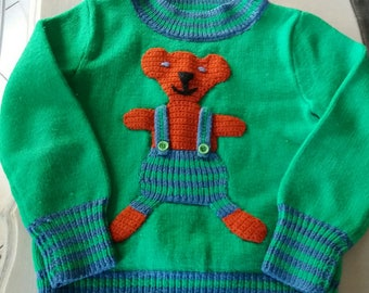 vintage sweater with bear motif