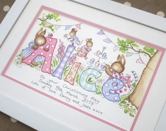 Baby Name Picture - watercolour painting personalised
