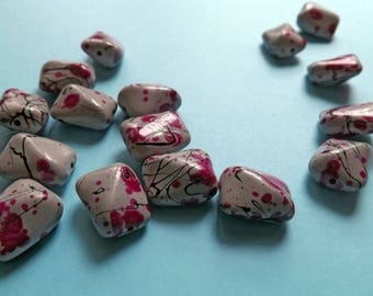 Original acrylic beads gray adorned with pink and black