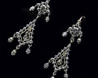 Antique Georgian Earrings Ear Pendants Gold Silver Diamonds France 18C (#6300)