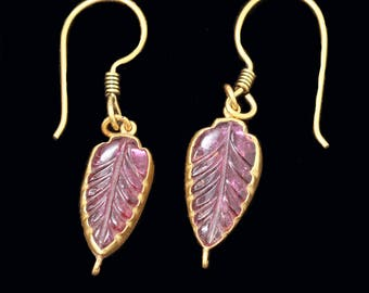 Earrings Carved Pink Tourmalines Set in 18k Gold Mounts(#6473)