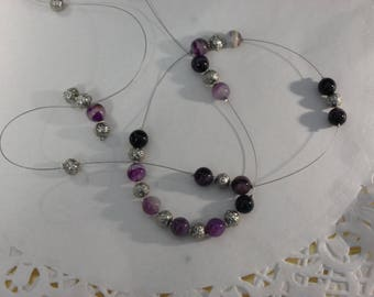 Necklace with purple amethyst beads and 85 cm brass beads