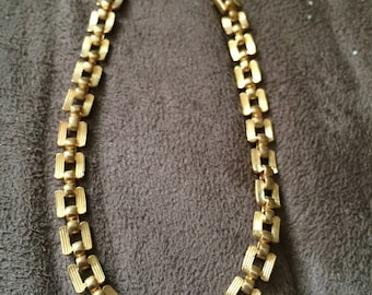 Vintage Goldtone Chain Design Bracelet, 7 1/4'' Long, 3/16'' Wide