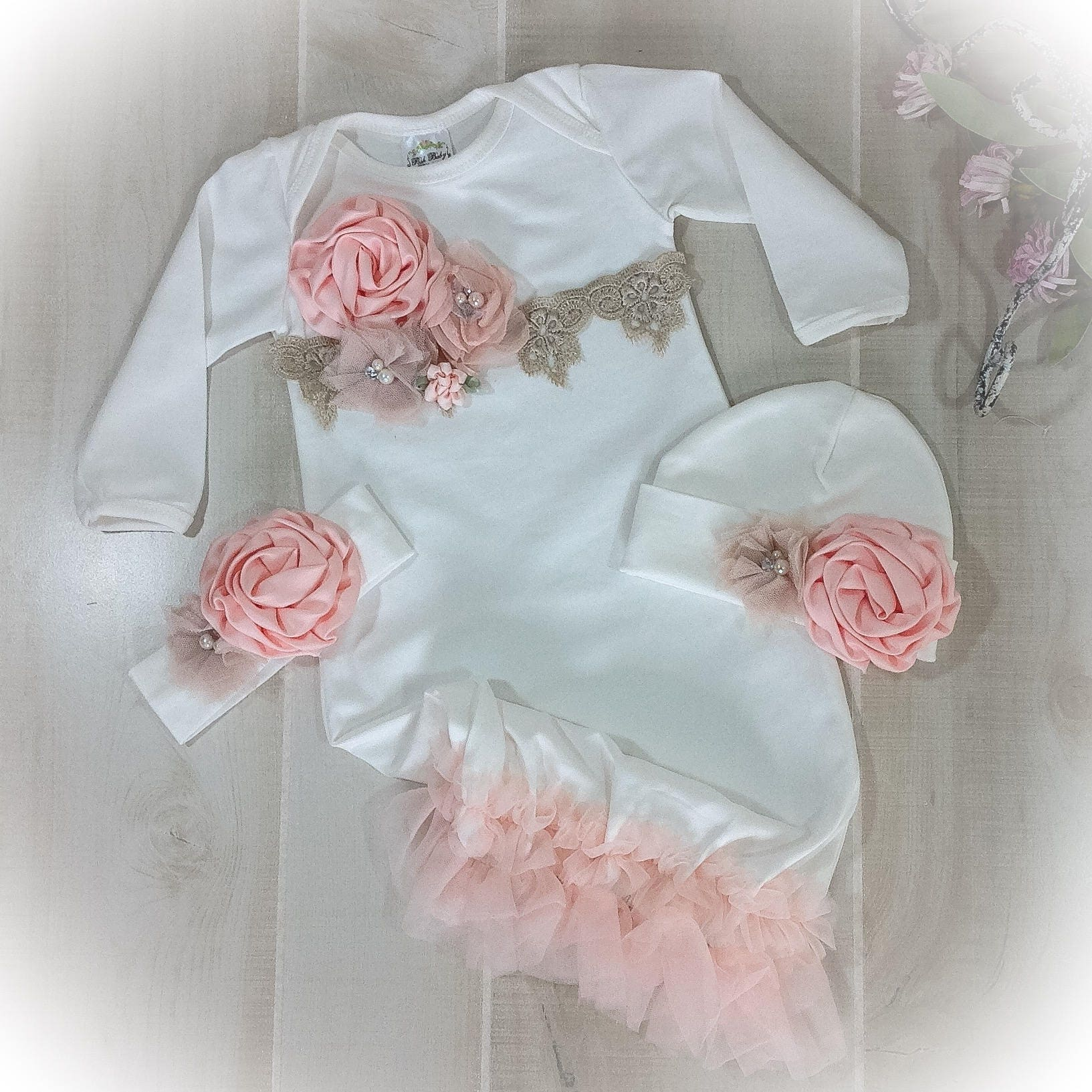 Newborn Girl Coming Home Outfit Baby Girl Gown Peach Coming