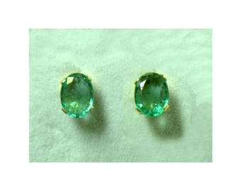 Beautiful Solid 14k Gold Genuine Natural Untreated Emerald 1.33 TCW Solitaire Stud Earrings