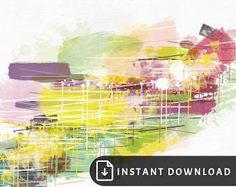 16x20 Colorful abstract art - yellow purple painting, multicolor abstract painting, bright wall art, colorful modern decor, rainbow art