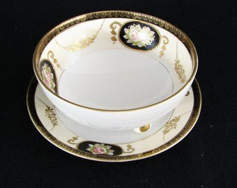 Noritake China Morimura Floral Gold Trim Condiment Bowl with Saucer Under plate