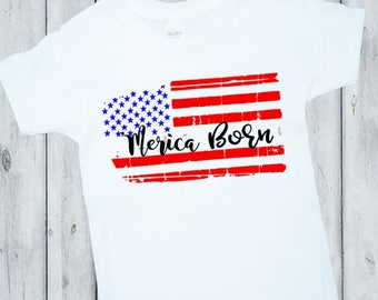4th of July Outfit, Baby boy 4th of July Shirt, Patriotic Outfit, Merica Born Outfit, Red White Blue, boys, Girls Stars and stripes
