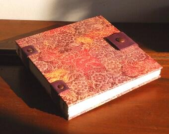 Carnet d'artiste carré, carnet à dessins toutes techniques, papier recyclé sans acide, reliure copte,14cmX14cm, cadeau de fêtes des mères