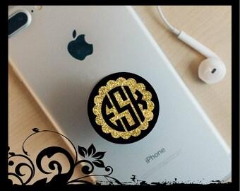 Monogrammed Decal | Pop Socket Sticker | Circle Monogram | Vine Sript | Yeti cup | Tumbler | Car Window | Phone Sticker|