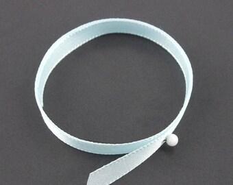 x2m (10A) 7mm pale blue satin ribbon