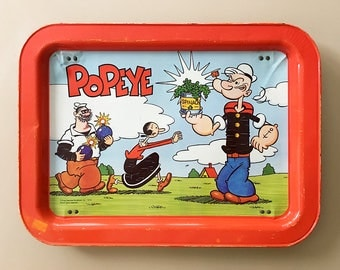 Popeye Collectibles Popeye Tray Vintage TV Trays Olive Oil Popeye Serving Tray Retro Tray Metal Tray Lunch Tray Kids Tray Popeye Memorabilia