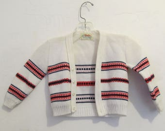 A Little Boy's Vintage 60's,Striped White HIPSTER era CARDIGAN Sweater By CARDINAL.9-12mo