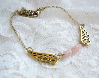 Angel wing necklace Pink necklace Gold necklace Mother Gift for her Chain pendant Quartz pendant Boho necklace Boho jewelry Christmas gift