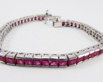 Fabulous ruby gemstone 925 Sterling silver bracelet handmade jewelry