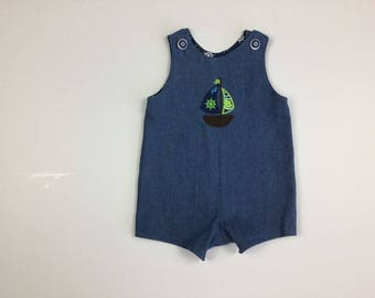 Sailboat Romper - Denim