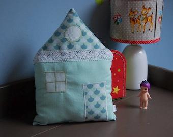 house shaped cushion fabric Mint, white, green