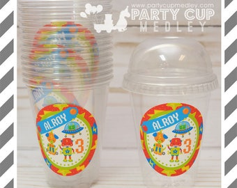 Robot Birthday Party Favor Cups with Dome Lids or Party Cups, Lids & Straws