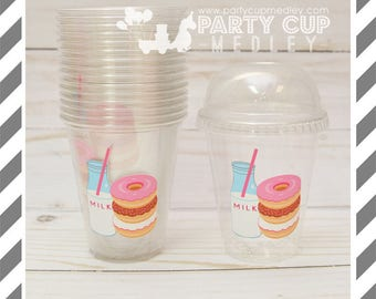 Donut Birthday Party Favor Cups with Dome Lids or Party Cups, Lids & Straws