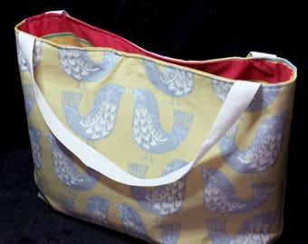 Scandi Bird Print Tote, Ladies Large Tote, Cotton Tote Bag, Bird Print Bag, Reusable Bag, Women's Large Bag, Shopping Bag, Gift-For_Her