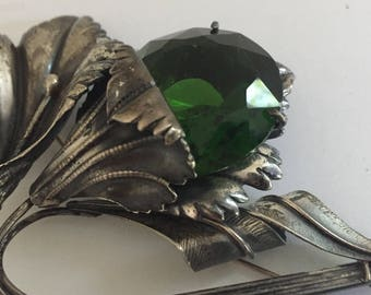 Vintage Sterling Silver Large  Flower Pin Brooch with Large Green Stone