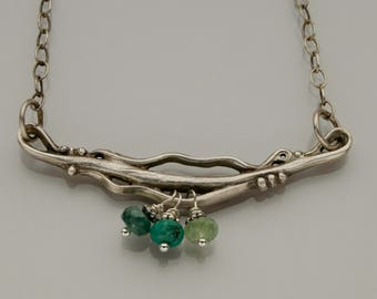 Wavy Silver Pendant with Green Dangles