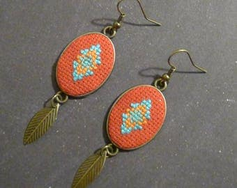Indian feather earrings-embroidered cross stitch