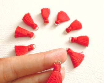 10 Red silky mini tassels - Red jewelry tassels 2 cm - Small red jewellery tassels with jump ring -  Bracelet, necklace red silky tassels