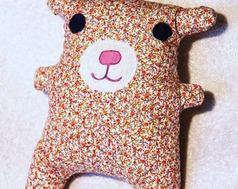 big cuddly bear to cuddle in floral cotton