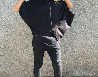 Black Neoprene Sweatshirt, Maxi Tunic Top, Asymmetric Warm Jacket, Casual Tunic With Zippers, Plus Size Top by SSDfashion