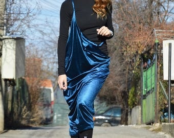 Royal Blue Velvet Jumpsuit, Extravagant Back Drop Crotch Pants,  Loose Sexy Backless Jumpsuit by SSDfashion