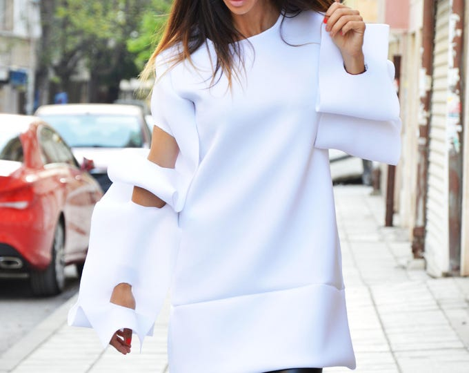 Asymmetric Neoprene Maxi White Tunic, Thumb Holes Extravagant Sleeves, Extra Warm Handmade Tunic by SSDfashion