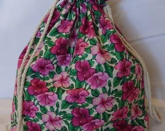 Pink Flowers Shawl Size Project Bag| Knitting Bag | Crochet Bag~ TamsCraftyKnits