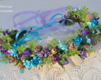 Bridal Flower crown Wedding flower crown  Bridal floral crown Turquoise purple flower Flower hair wreath Fairy hair wreath LV12