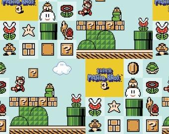 Super Mario Brothers 3 Cotton Woven, Mario Fabric, Super Mario Fabric, Mario Brothers Fabric, Super Mario Bro Fabric, Mario Cotton