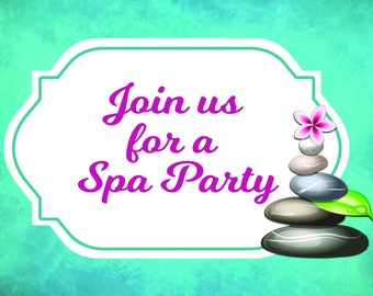 Spa Party Invitations, Invitations that can be used with our DIY Body Scrub kit, Bath Bomb Kit Or lip balm kit. 6 Invitaions and Envelopes