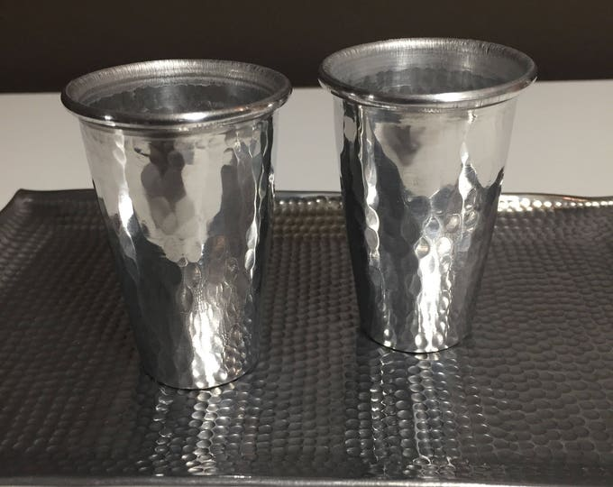 2-pack of 2oz hammered aluminum shot glasses