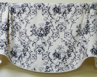 Black and White -Window Valance / Lined and Corded Valance /Rod Pocket Scalloped Valance / Cotton /Cottage Chic