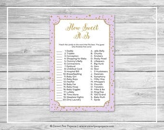 Purple and Gold Baby Shower How Sweet It Is Game - Printable Baby Shower How Sweet It Is Game - Purple and Gold Confetti Baby Shower - SP148