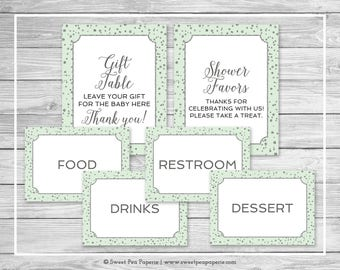 Mint and Silver Baby Shower Table Signs - Printable Baby Shower Table Signs - Mint and Silver Baby Shower - Table Signs - EDITABLE - SP152