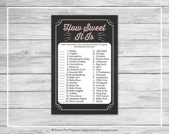 Chalkboard Baby Shower How Sweet It Is Game - Printable Baby Shower How Sweet It Is Game - Pink Chalkboard Baby Shower - Shower Game - SP155